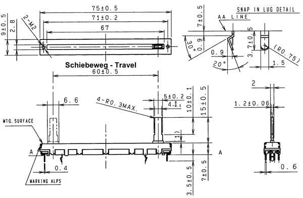 Disegno della ALPS Fader RS 6011 SY